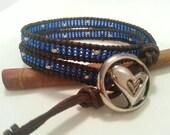 Double wrap bracelet, blue seed beads mix silver, brown leather wrap bracelet