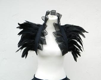Featherstole black organza Fetisch Bolero Shrug Wrap Stole Boa Clubbing Party Gothic Burlesque Steampunk Tribal Fusion Samba Carnival