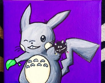 Totoro Themed Pikachu Canvas Painting