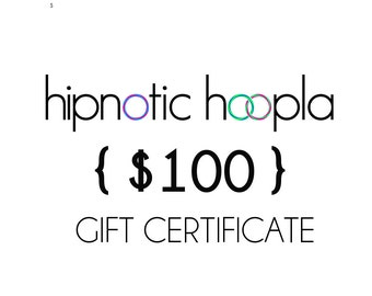 Hipnotic Hoopla 100 USD Gift Certificate Card // Holiday // Birthday // Virtual Card // PDF // Printable