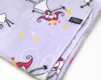 Handmade XL Flannel Receiving blanket / Swaddle blanket - Light purple with flying fairy princess