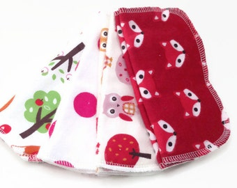 cloth wipes - set of 8, baby wipes, washcloths: Red Fox and Owls, pink polka dots