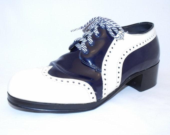 1970's Men's Wingtip Platform Shoes / Disco Shoes / Platform Oxford Spectator Shoes / World's Largest Disco Party / Saturday Night Fever