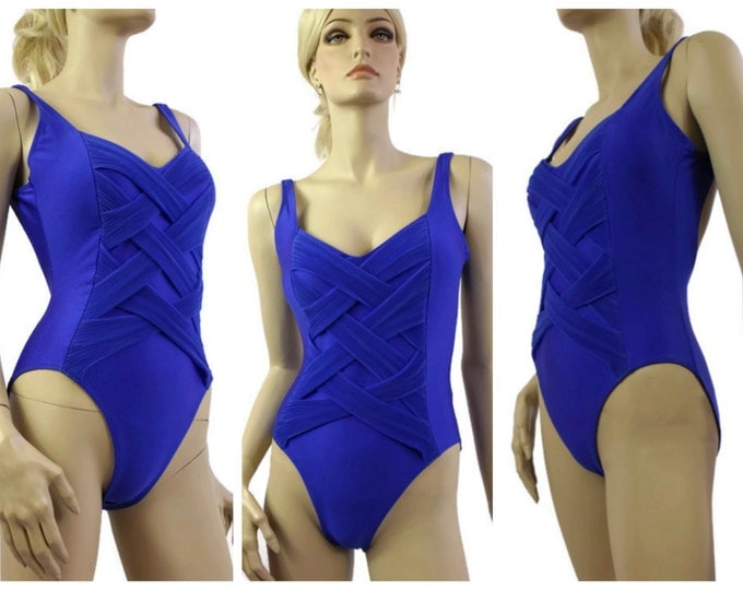 1980's One Piece Royal Blue Bathing Suit / High Cut Swimsuit / 80's Lycra Swimwear / Criss-Cross One Piece Maillot / Size Small to Medium