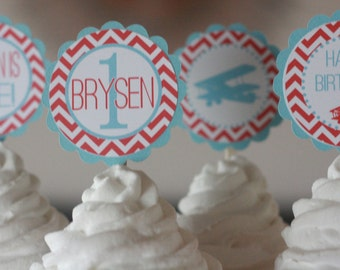 12 Red & Light Blue Vintage Airplane Biplane Chevron Theme Birthday Cupcake Toppers - Ask About our Party Pack Sale - Free Ship Over 65.00