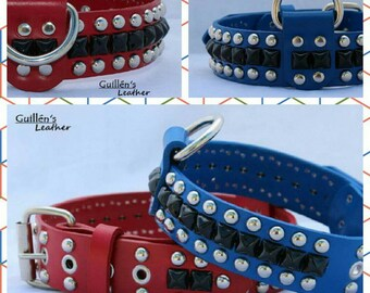 Leather Dog Collar with Circle and Pyramid Studs