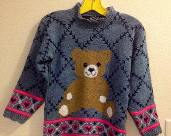 Vintage girls teddy bear knit sweater