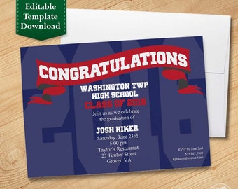 Blue and Red Graduation Invitation Template, High School Graduation Invitation, College Graduation Invitation, Graduation Party 2016