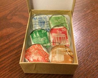 Vintage stamp glass magnets