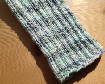 L Blue Green PICC Line / IV Cover (Armband) x-short, white, stripe, machine wash, intravenous, chemo, tpn, hand knit, cotton, elastic, soft