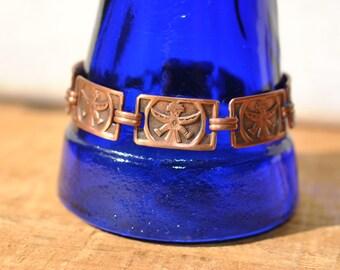 Vintage Copper Panel Link Bracelet - Tribal - Incan - Mayan - Southwestern - Ethnic Figure  - Warrior Princess Bracelet