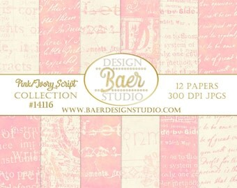 Pink Script Digital Paper, PINK and IVORY Digital Paper, Pink Script Digital Paper, Junk Journal Digital Paper, #14116