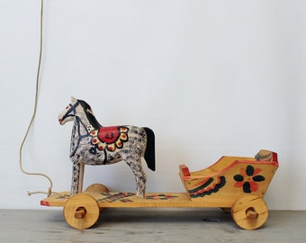 Vintage Folk Art Horse and Carriage Figurine - Wooden Pull Toy - Hand Painted Horse 23