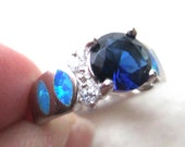 Sterling Silver Sapphire and Fire Opal Ring, size 6