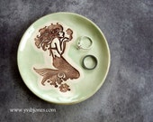 Mermaid Ring Holder Jewelry Dish, Small Keepsake Pottery Sea Glass Mint Color Ceramic Tea Bag Holder Beach Wedding Home Decor Spoon Rest
