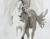 Beautiful Equine horse art LE print 'Ink study III' from an original ink study by Heather Irvine individually signed and dated