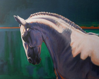 Equine horse art dressage movement based limited edition print 'Baroque I' from an original acrylic painting by artist H Irvine