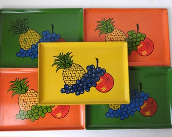 Vintage Plastic Square Fruit Snack Trays