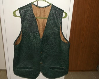 Fashion Faux Croc Mens Vest, Vinyl, Lined, Double Front Pockets, Hand Made, Hip Crocodile Textile, New, Only made 1 - by Pillowinno