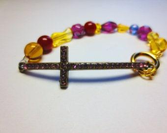 Sparkling Brown Sideways Cross Bracelet