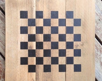 Hand Stenciled Checkerboard, Includes checkers and free shipping