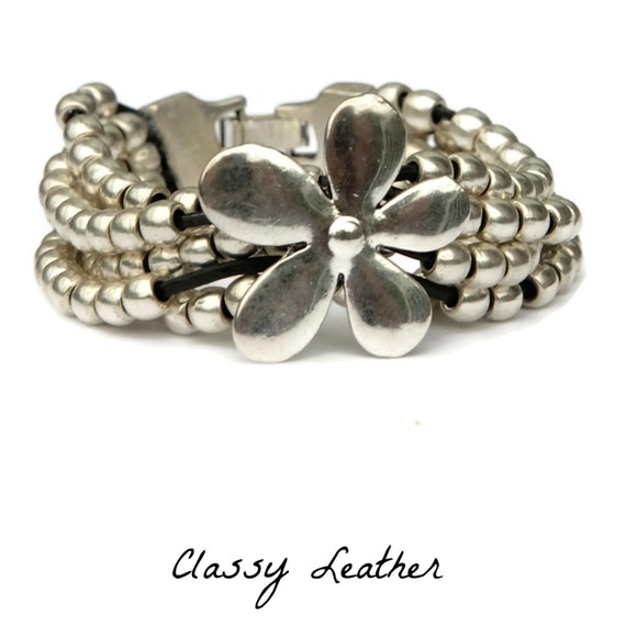 Boho bracelet,boho beaded bracelet,Boho silver bracelet,leather bracelet,leather wrap bracelet,beaded bracelet,Cuff bracelet,cuff