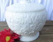 Cookie Jar with Lid in Bramble or Maple Leaf-Milk Glass by Westmoreland
