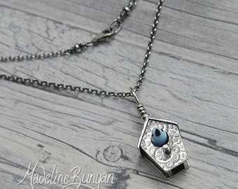 MADE TO ORDER Silver Bird House Pendant with blue glass bird