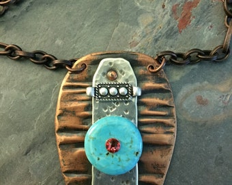 SHIELD YOURSHELF....earthy..organic..texture..sterling..copper..oxidized..turquoise..mixed metals..handmade..OOAK