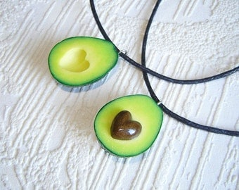 pair necklaces, best friends avocado halves necklaces, avocado with the stone in the shape of a heart, size avocado - 1 inch.