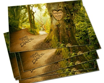 Save The Date Cards, Personalized Names and Date, Save-the-Date Rustic Forest Wedding Photo cards, Names and Date Carved in Tree FOREST