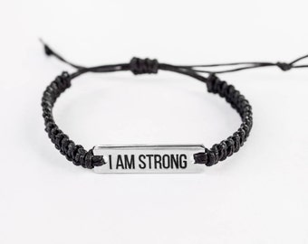 I am Strong Bracelet, Inspirational Bracelet, Word Bracelet, Inspiration Jewelry, Inspiration Gift, Gift for Her, Friendship Bracelet