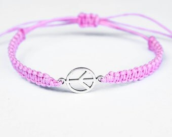 Peace Bracelet, Pink Bracelet, Peace Sign Bracelet, Hippie Bracelet, Boho Bracelet, Friendship Bracelet, Macrame Bracelet, Zen Bracelet