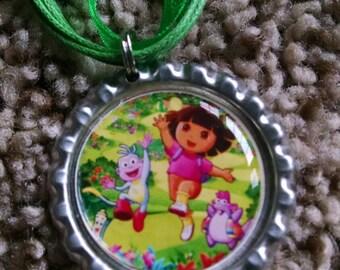 Dora the Explorer Bottle Cap Necklace