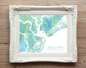 Charleston South Carolina Map - Custom Personalized Wedding Print - I Love SC - Hometown Wall Art Gift Souvenir - Watercolor Series