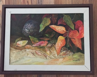 Original Art Painting Alexander Nepote Autumm Leaves Mid Century Art  Museum Quality collectable art Signed Painting