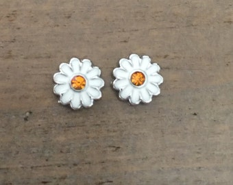 Daisy Earrings, Daisy Stud Earrings, White Yellow Daisies, Flower Girl Gift