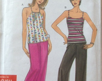 Uncut Vintage Simplicity Knit Halter and Tank Tops Pants Sewing pattern Size 6 to 16