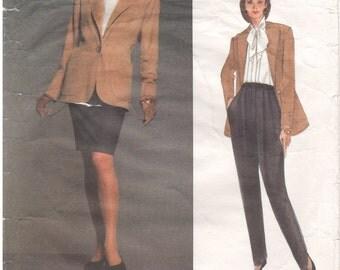 1992 - Vogue 2957 Vintage Sewing Pattern Paris Original Yves Saint Laurent Jacket Pants Skirt Suit LooseTapered Lined Loose