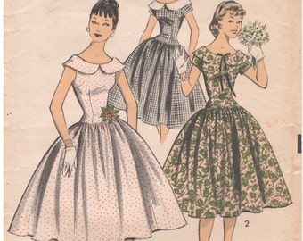 1956 - Advance 7964 Vintage Sewing Pattern Teen Junior Size 14 Bust 32 Sew Easy Dress Gathered Skirt Fitted Long Torso Oval Neck
