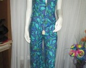 1960's 2- Piece Sleeveless Blue Tropical Print PANTSUIT by TWIGGY of London