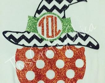 Glitter Halloween Pumpkin long sleeve shirt * chevron * witch *