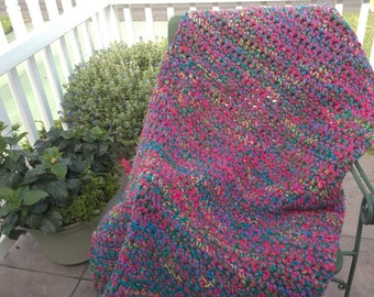 Red, 2 Blues, and Chili Afghan--6 ft x 3 1/2 ft--(20)