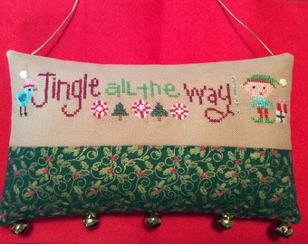 SALE-10% Off-Lizzie Kate Cross Stitch Ornament-Completed w/Bells