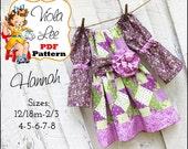Hannah.. Girl's Dress Pattern, Girl's Peasant Dress Pattern. 3/4 & Short Sleeve Options.Toddler Dress Sewing Pattern. pdf Sewing Pattern