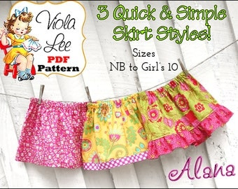 Alana, Three Girl's Skirt Patterns. Toddler pdf Sewing Pattern. Baby Sewing Pattern. Girl's Sewing Pattern. Infant Ruffle Skirt Pattern.