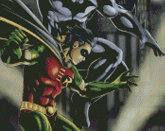 Batman and Robin Animated Cross Stitch Pattern