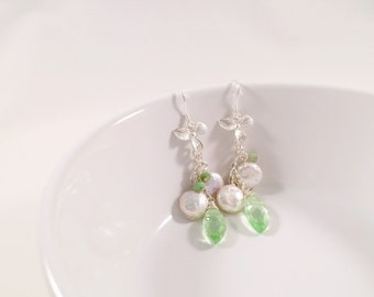 Light-Green Quartz and Pearls, Orchid-Drop Earrings