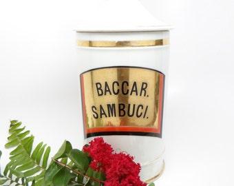Antique Porcelain Apothecary Large 10 Inch Antique Jar, BACCAR. SAMBUCI.