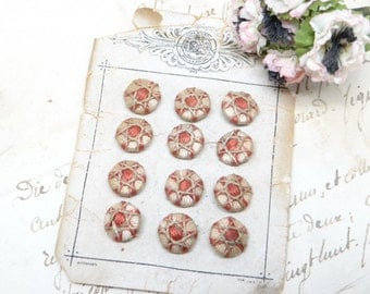 Antique German Thread Wrapped Buttons on Original Card, Lyon Brand